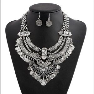 NEW Silver Boho Coin Statement Collar Necklace